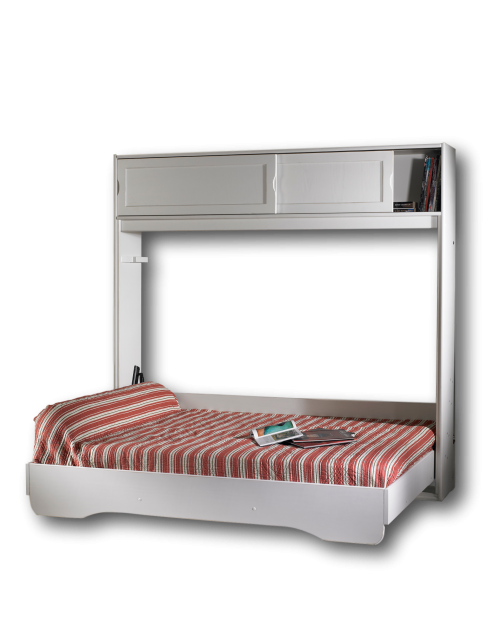 Lit Escamotable Horizontal Fidji 140 x 190 + Rangement Supérieur
