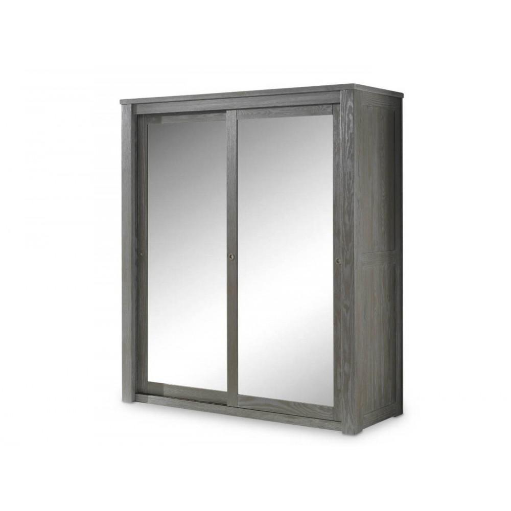 Armoire 2 Portes Coulissantes Avec Miroir Volda
